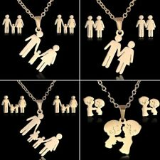 Fashion Stainless Steel Lover Pendant Necklace Earrings Jewelry Set Family Gift