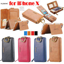 Luxury Genuine Leather Flip Wallet Card Slot Case Cover For iPhone X 8 7 6 Plus