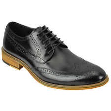 Mens Leather Black Brogue Shoes Smart Casual Lace up Formal Size 6 7 8 9 10 11