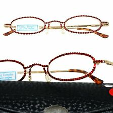 RED with SWAROVSKI CRYSTAL DAZZLE II CALABRIA Rx Optical Reading Glasses Case