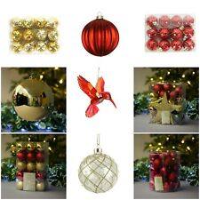 Red Gold Christmas Decorations - Gisela Graham - Bauble Shatterproof Xmas