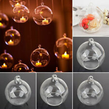 Clear Glass Round Hanging Candle Light Holder Candlestick Romantic 6-12CM S