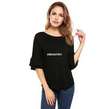 Women Casual Ruffle Sleeve Round Hemline O Neck Solid Loose Pullover ONMF