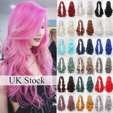 Halloween Long Hair Cosplay Full Wig Real Thick Heat Resistant Curls Wave Wig Df