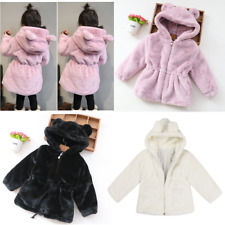 Baby Girls Winter Warm Bunny Coat Faux Fur Jacket Kids Hooded Outerwear Clothes