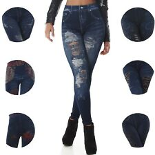 High-Waist Leggings Jeans Look Jeggings High Waist Stretch 34 36 38 XS S M