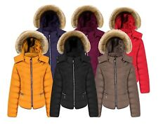 New Womens Ladies Quilted Padded Bubble Fur Hooded Thick Warm Puffer Coat Jacket