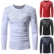 Fashion Mens Casual Shirts Breathable T-shirt Long Sleeve Slim Fit Tops Pullover