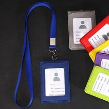 Leather Wallet Credit Card Badge Holder + Lanyard 3 Slots Fit for ID Card Office