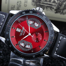 Men Casual Leather Band Date Automatic Mechanical Sport Army Wristwatch Watch