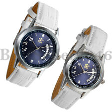 Fashion Womens Mens Date Dial Leather Strap Couple Quartz Analog Wrist Watch
