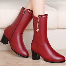 Girls Womens PU Leather Pointy Toe Chunky Heel  High Mid Calf Boots Shoes