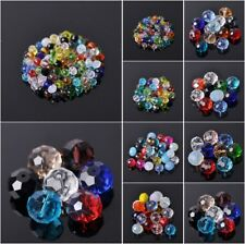 Wholesale 4mm~18mm Rondelle Faceted Crystal Glass Loose Spacer Craft Beads Lot