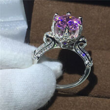 Crown jewelry 8mm Pink Sapphire CZ 10KT White Gold Filled Women Band Ring Gift