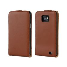 For Samsung Galaxy S2 i9100 Quality Brown Genuine Leather Flip Case Cover Skin