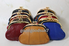 New Ladies Soft Leather Ball Snap Clasp  Zips Purse Clutch /Coin  Bag Wallet