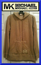 Michael Kors NEW Velour Stud MK Circle Hoodie Beige Long Sleeve Sweatshirt