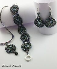 Combine Your SET, Silver & Crystals HANDMADE Beaded Earrings Bracelet Necklace,