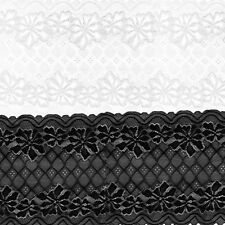 5 Yards 24cm Stretch Soft Flower Lace Trim Decoration Crafts Sewing Dress Making