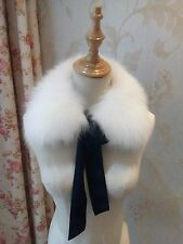 Pure Snow White Fur Scarf Real Fox Fur Neck Warmer Scarf for Kids Stole Cape