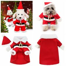 Pet Small Large Puppy Dog Cat Clothes Santa Claus Christmas Coat Costume Outfit