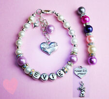 PERSONALISED BRIDESMAID FLOWER GIRL  SPARKLING PEARL BRACELET GIFT  WITH CHARMS