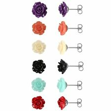 Fashion Womens Girls Resin Rose Flower Ear Stud Earrings Stainless Steel 2pcs