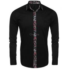 Men's Long Sleeve Print Patchwork Slim Fit Casual Button Down Shirt CO99 01