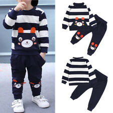 Winter Fall Outfits Kid Baby Girl Boy Clothes Set Striped Bear Tops+Pants Outfit