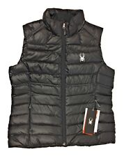 Spyder Womens Prymo Down Vest Full Zip Puffer Puffy Black 510353-001 MSRP $159