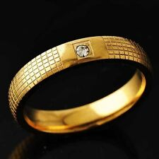 Mesh Womens Yellow Gold Filled Clear CZ Ring Size 8-11