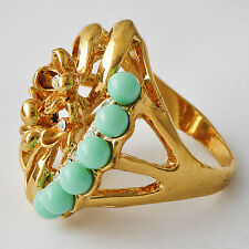 Womens yellow Gold Filled Clear Crystal Pearl Flower Turquoise Ring SZ 7-10