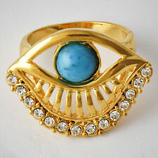 Womens yellow Gold Filled Clear Crystal Turquoise Eye shape Band Ring Size 7-9