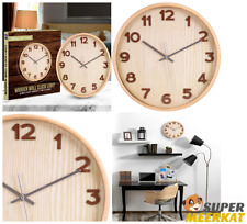 Wall Clock Quartz Wood Silent Non Ticking Large For Kitchen Bedroom Home Decor