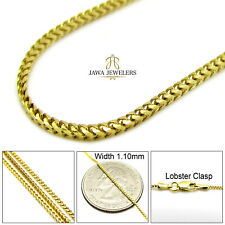 """14K Solid Yellow Gold Diamond Cut Franco Chain Necklace 1.10MM 16""""-22"""""""