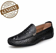 Men's Genuine Leather Luxury Shoes Alligator Casual Slip-on Loafers Dress Flats