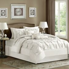 Luxury 7pc White Pleated Comforter Set AND Decorative Pillows