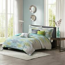 Luxury 6pc Green & Teal Blue Abstract Coverlet Quilt Set AND Decorative Pillows