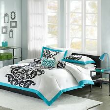 Teal Blue Black & White Damask Comforter Set  AND Decorative Pillow - ALL SIZES