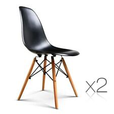 NEW Set of 2 Replica Eames Eiffel Dining Chairs Black