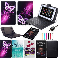 """For Samsung Galaxy Tab 3/4 7"""" 8"""" 10.1"""" Tablets Leather Stand Cover Keyboard Case"""