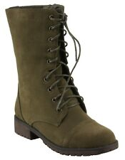 Refresh Libby-12 Faux Suede Round toe Lace-up Combat Style Lug-sole Boots