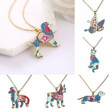 Fashion Butterfly Animal Dog Enamel Pendant Necklace Chain Women Party Jewelry