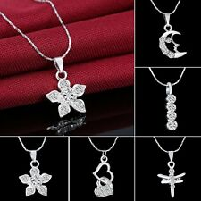 Silver Crystal White Gold Filled Wedding Flower Heart Dragonfly Pendant Necklace