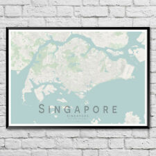 SINGAPORE Map Print, City Street Wall Art Poster A3 A2
