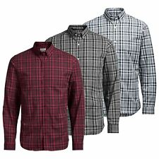 JACK & JONES Noah Mens Check Shirt Long Sleeve Collared Cotton Casual Shirt