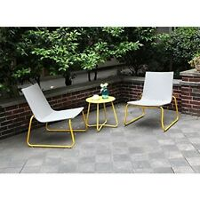 Wicker Furniture Bistro Set Outdoor All Weather Handmade 3Pc Yellow Chairs Table