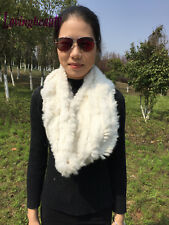 White Knitted Rabbit Fur Infinity Scarf/Circle/Scarf/Shawl/Cape/Christmas Scarf