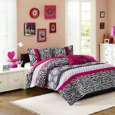 Hot Pink Black White Dots & Damask Duvet Cover Bedding Set AND Decorative Pillow