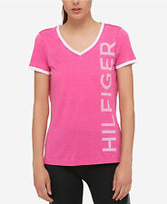 NWT WOMENS TOMMY HILFIGER TH PINK SHORT SLEEVE V NECK T SHIRT SZ S-L